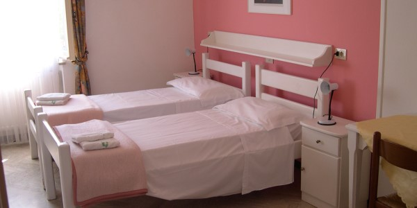 twin pink beds