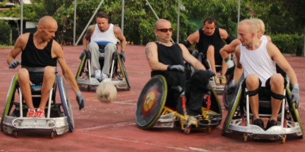 wheelchair users playing ball game