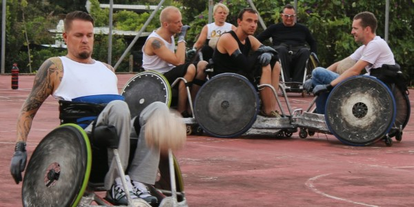 wheelchair users playing ball